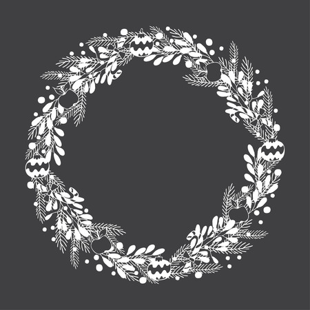 Hand drawn winter Holiday wreath on black background. A template of greeting card design, Christmas invitation, and banner 向量圖像