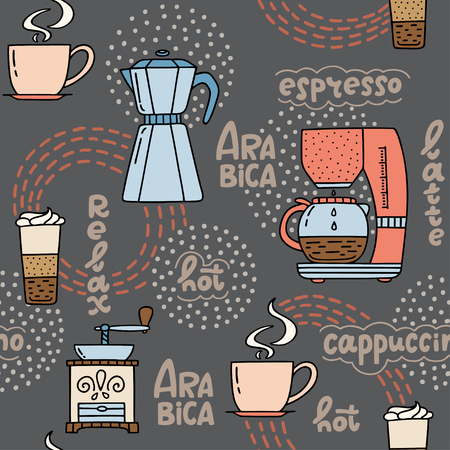 Seamless pattern with hand drawn coffee time symbols and handwritten phrases. Vector pattern on dark grey  background, can be used for wrapping paper, decorate coffee house, cafeteria, cafe. Vector illustration