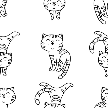 Seamless pattern with hand-drawn playful kitten. Cute pet pattern in doodle style can use for wrapping paper, print on textiles, background for pet shop 向量圖像
