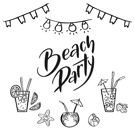 Vector hand-drawn illustration with handwritten phrase Beach Party. Poster for summer vacation festival, beach party, print on t-shirt.