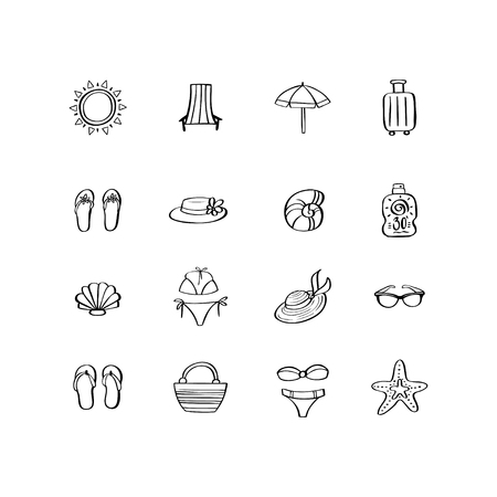 Summer vacation hand drawn icon set in doodle style. Design elements for summer party poster, invitation card, wrapping paper, print on mug, t-shirt, sticker 向量圖像