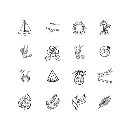 Vector illustration with hand drawn summer vacation icons for a beach party. Design elements for postcard, mug, poster. t-shirt, sticker, stamp 向量圖像