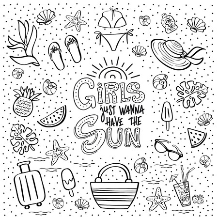 Hand lettering phrase Girls Just Wanna Have the Sun and summer vacation clip art. Vector illustration for a travel agency, summer party, beach festival. Can be used for invitation card, t-shirt, poster