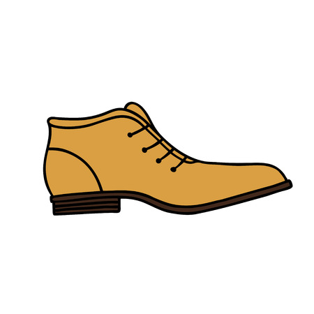Elegant shoe for men. Hand drawn outline and stroke. Vector illustration can be used for poster design, decorate a shoe store