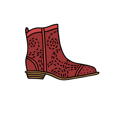 Cowboy style shoe. Hand drawn outline and stroke. Vector illustration can be used for poster design, decorate a shoe store 向量圖像
