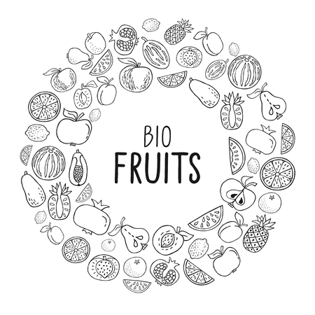 Vector illustration with hand drawn fruit. Healthy food concept, various organic product in a circle on white background