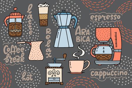 Cafetière, presse américaine, machine à café, tasse d'expresso, latte et moulin. Concept de pause-café avec clipart en style doodle et phrases manuscrites. Affiche unique pour un café, un café, une cafétéria. Illustration vectorielle