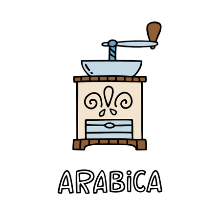 Hand drawn coffee grinder with handwritten phrase Arabica. Can be used for coffee break poster, card, leaflet. Vector illustration