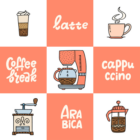 Hand drawn coffee maker, coffe machine, American press, grinder, latte, cappucino. Collection of coffee time symbols and handwritten phrases. Design elements for poster, card, leaflet. Vector illustration