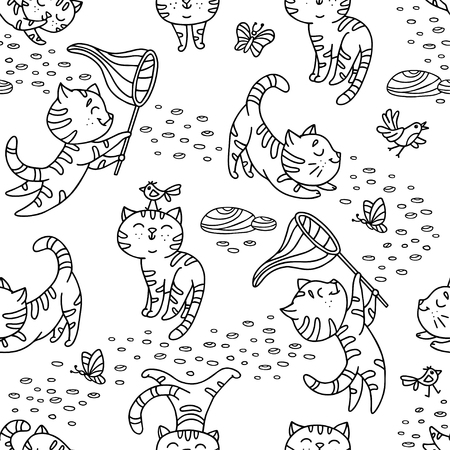 Seamless pattern with hand-drawn playful kittens with birds, butterfly, stones. Cute pet pattern in doodle style can use for wrapping paper, print on textiles, background for pet shop