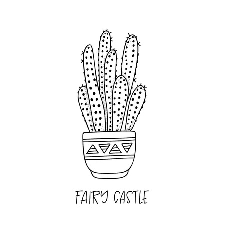 Fairy Castle cactus in decorative pot in doodle style with a handwritten title. Vector illustration. Design elements for stamp, poster, stickers