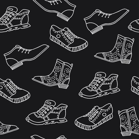 Seamless pattern with hand drawn shoes. Vector pattern in line style on black background, can be used for wrapping paper, decorate a shoe store 向量圖像