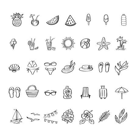 Summer vacation hand drawn icon set in doodle style. Perfect vector design elements for poster, invitation card, summer pattern, wrapping paper, print on mug, t-shirt 向量圖像