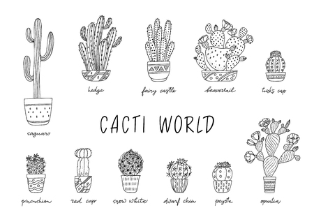 House Plants in decorative pots with a handwritten title. Hand drawn Cactus isolated on white background. Doodle style set. Vector illustration. Design elements for stamp, poster, stickers 向量圖像