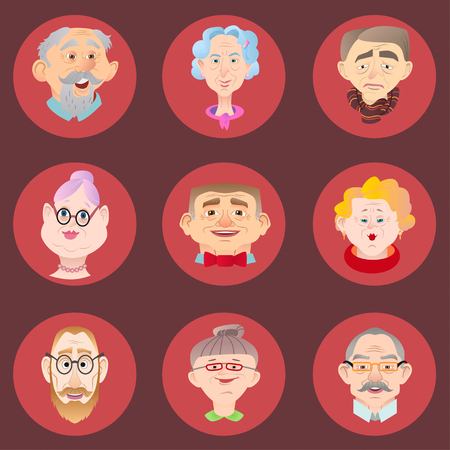 Face of elder people icons set in flat style. Pensioner head collection. Isolated avatar in circle