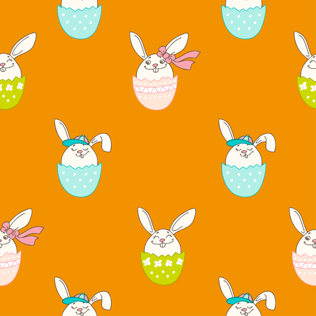 Hand drawn colorful Easter eggs in doodle style. Vector seamless pattern on orange background. Perfect design elements for decorations greeting card, holidays pattern, wrapping paper