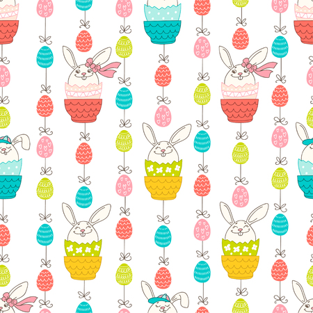 Hand drawn colorful Easter eggs and bunny in doodle style. Vector seamless pattern. Perfect design elements for decorations greeting card, holidays pattern, wrapping paper