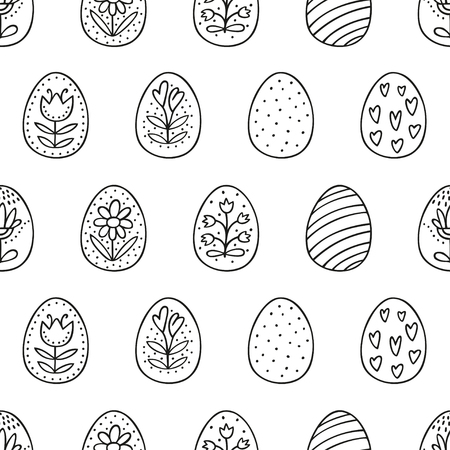 Easter eggs seamless pattern with hand drawn decoration. Perfect vector pattern in line style can be used for wrapping paper on white background 向量圖像