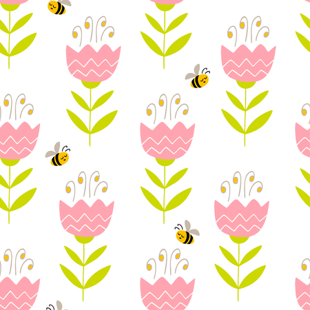Seamless pattern with hand drawn flowers and bees. Colorful vector pattern in flat style can be used for wrapping paper, spring holidays background
