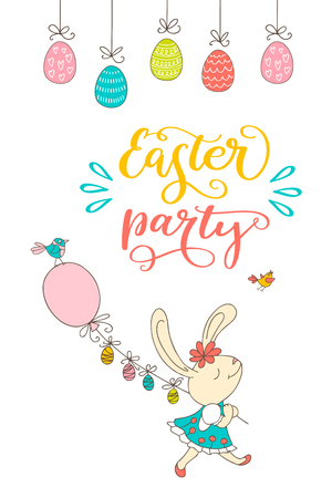 Hand drawn bunny, eggs, birds and lettering phrase Easter Party. Handwritten calligraphy design. Can be used for print poster, flyers, leaflets. Vector illustration