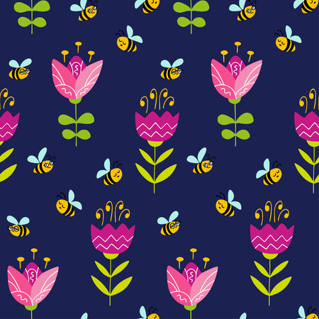 Seamless pattern with doodle flowers and bees. Colorful vector pattern in flat style can be used for wrapping paper, spring holidays background 向量圖像