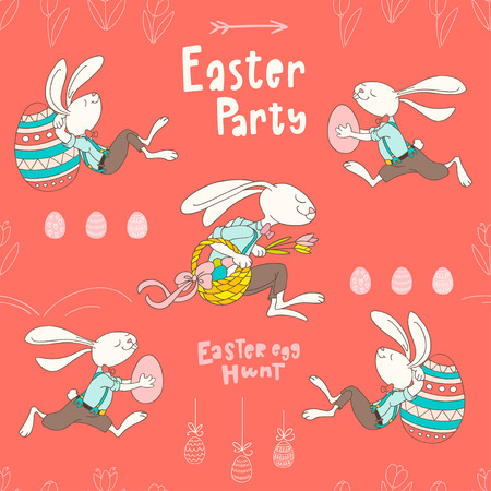 Vector seamless pattern with rabbits, eggs, flowers and handwritten text Easter Party. Colorful pattern in flat style can be used for wrapping paper, spring holidays background