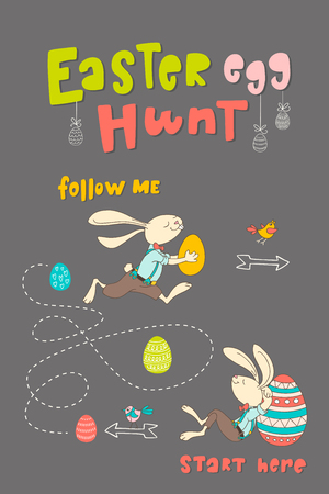 Hand drawn bunny, eggs, birds and lettering phrase Easter Egg Hunt. Handwritten calligraphy design. Print for poster, flyers, leaflets on dark background. Vector illustration