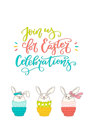 Brush lettering composition of Join us for Easter Celebrations and hand drawn bunny. Handwritten calligraphy design. Print for invitation, poster, leaflet, greeting cards. Vector illustration 向量圖像