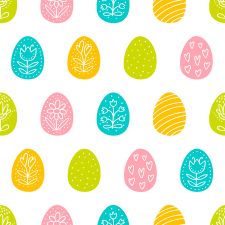 Easter eggs seamless pattern with hand drawn decoration. Perfect vector pattern in flat style can be used for wrapping paper, holidays background 向量圖像