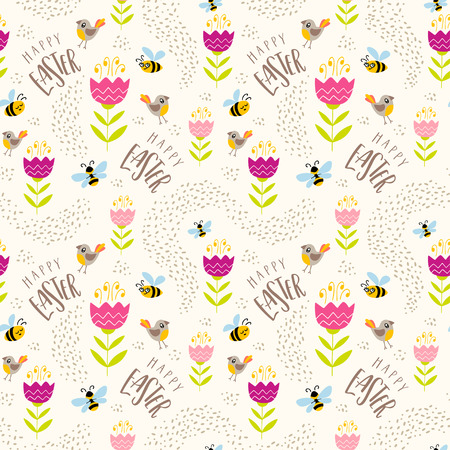 Seamless pattern with hand drawn flowers birds bees and handwritten text Happy Easter. Colorful vector pattern can be used for wrapping paper, spring holidays background