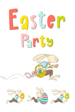 Hand drawn bunny, eggs, and lettering phrase Easter Party. Handwritten calligraphy design. Can be used for print poster, flyers, leaflets. Vector illustration