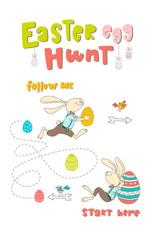 Hand drawn bunny, eggs, birds and lettering phrase Easter Egg Hunt. Handwritten calligraphy design. Print for poster, flyers, leaflets. Vector illustration 向量圖像