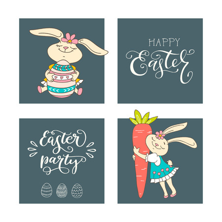 Set of handwritten lettering phrases Happy Easter, Easter Party, and hand drawn rabbits, eggs, carrot. Vector illustrations and handwritten calligraphy design. Print for poster, greeting cards, leaflets