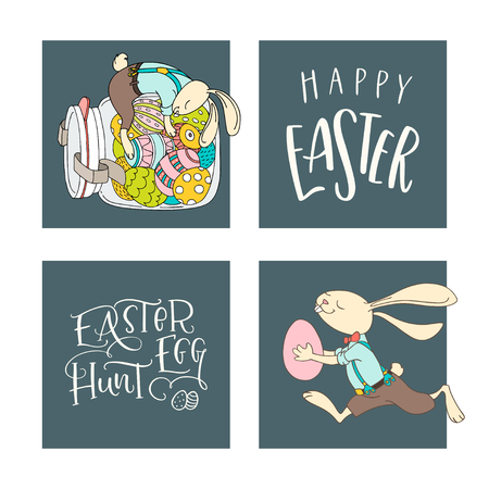 Set of handwritten lettering phrases Easter Egg Hunt, Happy Easter  and hand drawn rabbits, eggs. Vector illustration and handwritten calligraphy design. Print for poster, greeting cards, leaflets 向量圖像