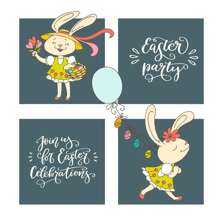 Hand drawn fun rabbit, Easter eggs and handwritten text Easter Party. The concept of Christian spring holidays congratulation.  Vector illustrations and handwritten calligraphy design. Print for poster, greeting cards, leaflets 向量圖像