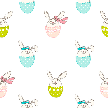 Hand drawn colorful Easter eggs in doodle style. Vector seamless pattern. Perfect design elements for decorations greeting card, holidays pattern, wrapping paper