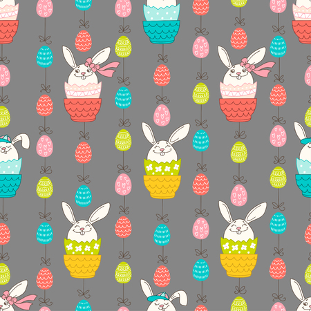Hand drawn colorful Easter eggs and bunny in doodle style. Vector seamless pattern on grey background. Perfect design elements for decorations greeting card, holidays pattern, wrapping paper