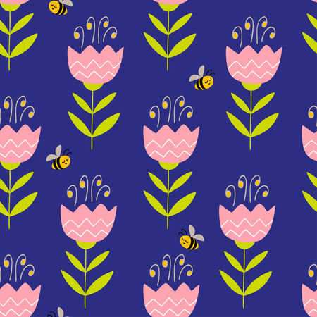 vector seamless pattern with hand drawn flowers and bees. Colorful pattern in flat style can be used for wrapping paper, spring holidays background