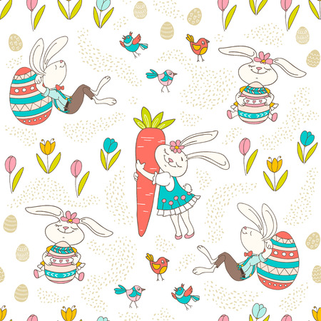 Hand drawn colorful Easter bunny, eggs, birds in doodle style. Vector seamless pattern on light background. Perfect design elements for decorations greeting card, posters, holidays pattern, wrapping paper