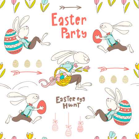 Seamless pattern with hand drawn rabbits, eggs, flowers and handwritten text Easter Party. Colorful vector pattern in flat style can be used for wrapping paper, spring holidays background
