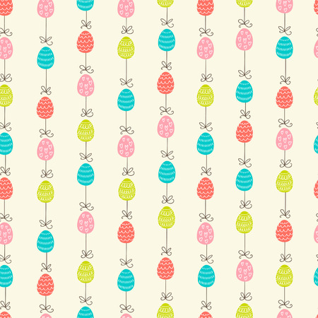Hand drawn colorful Easter eggs. Vector seamless pattern. Perfect design elements for decorations greeting card, holidays pattern, wrapping paper