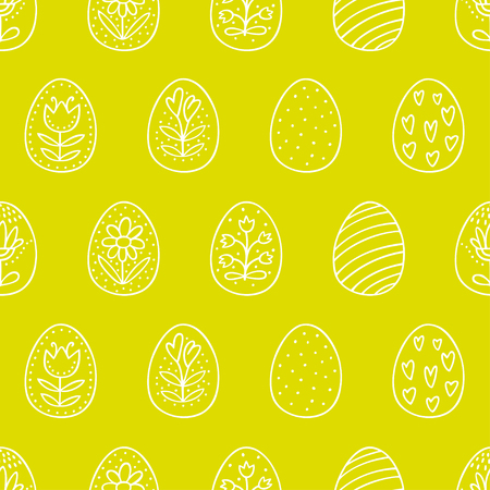 Easter eggs seamless pattern with on green background Perfect vector pattern in line style can be used for wrapping paper, holidays background 向量圖像