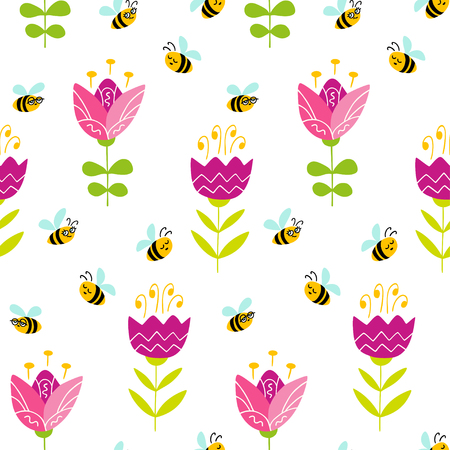 Seamless pattern with hand drawn blooming flowers and bees. Colorful vector pattern in flat style can be used for wrapping paper, spring holidays background 向量圖像