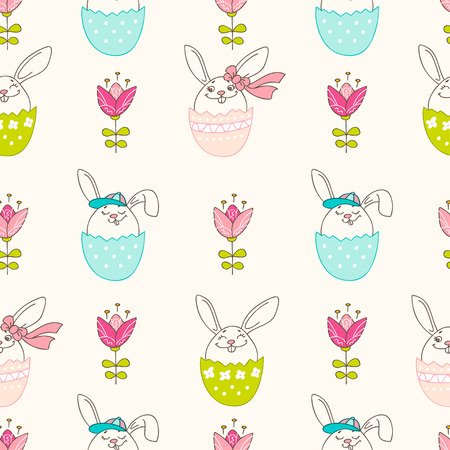 Hand drawn colorful Easter eggs, bunny and blooming flowers in doodle style. Vector seamless pattern. Perfect design elements for decorations greeting card, holidays pattern, wrapping paper