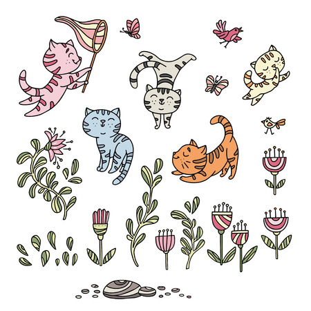Hand drawn playful kittens with birds, butterfly, flowers. Collection of cute kitties can be used for greeting card, pet shop posters, wall stickers. Vector illustration.