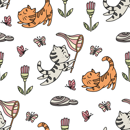 Seamless pattern with hand-drawn playful kittens with butterfly, flowers. Cute pet pattern in doodle style can use for wrapping paper, print on textiles, background for pet shop