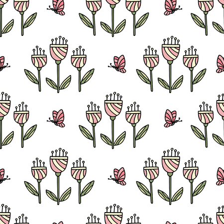 Seamless pattern with hand drawn flowers and butterfly. Can be used for wallpaper, poster design, wrapping paper, surface texture, web backgrounds, print on textile and covers. Vector illustration