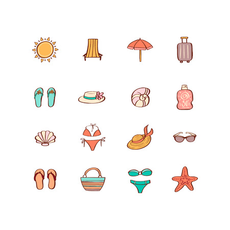 Summer vacation hand drawn icon set in doodle style. Design elements for summer party poster, invitation card, wrapping paper, print on mug, t-shirt 向量圖像