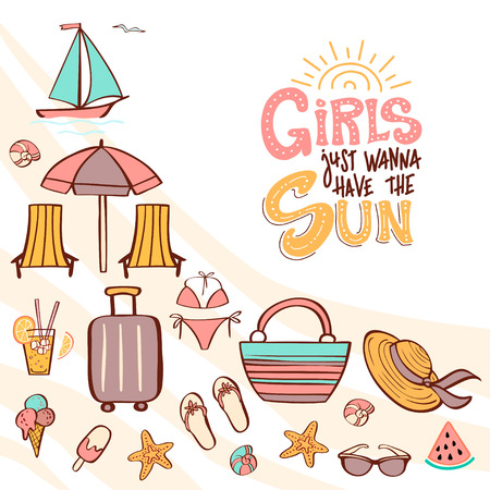 Hand lettering phrase Girls Just Wanna Have the Sun and summer vacation clip art. Vector illustration for a summer party. Can be used for invitation card, t-shirt, poster
