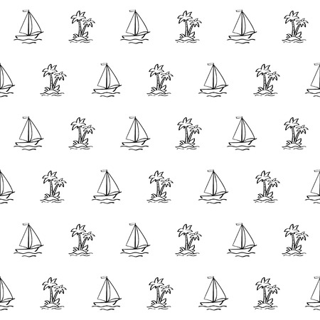 Hand drawn sailboat and palm tree on the island in doodle style on white background. Vector seamless pattern